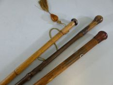 Three rustic wooden walking sticks one with Amber style tassel