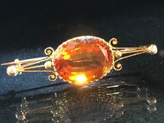 Gold and Citrine Brooch: Mid Victorian unmarked gold mount (possibly 18ct) with large Sherry Citrine