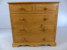 Small pine chest of five drawers