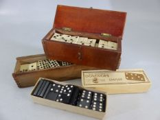 Three sets of Domino's Two in wooden boxes and vintage Bone & Ebony construction (Domino)