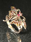 Silver and enamel butterfly brooch