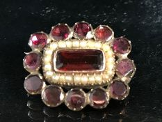 Victorian Memorium Brooch set with Bohemian Garnets and seed Pearls