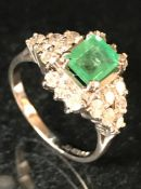 18ct white gold emerald and diamond art deco style dress ring