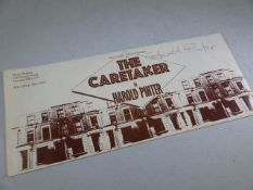"""Autograph PINTER (HAROLD, 1930-2008): Signed by Harold Pinter, a poster adverting """"THE CARETAKER"""