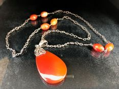 Arts & Crafts Carnelian Pendant on silver chain with three pairs of carnelian beads