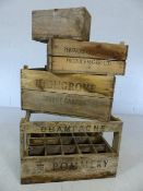 Three vintage wooden produce crates marked Pommery Champagne and Highgrove Covent Garden,