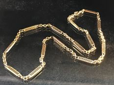 9ct Gold chain of bars and Links (total weight approx 11.3g)