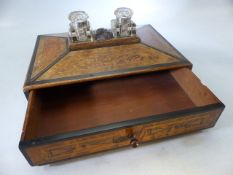 Walnut writing box with original glass ink wells mounted to the lid and a carved bust separating the