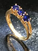 9ct 375 Gold ring set with three Kyanite stones
