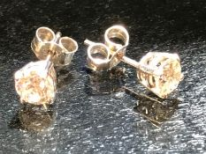Pair of white gold diamond stud earrings of approx. 1ct