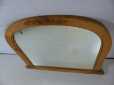 Large pine overmantle mirror with carved floral decoration