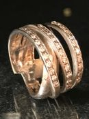 Substantial 18ct white gold three row diamond ring