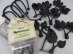 Two pairs of leaf-design curtain finials and one further pair, along with a selection of fittings,