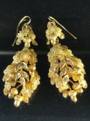 Pair of Gold drop earrings in the form of frosted oak leaves and acorns with five leaves studded