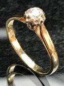 9ct 375 Gold Diamond Solitaire ring size 'L' A/F