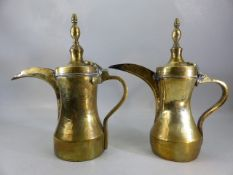 Two Turkish brass coffee pots, stamped maker's marks, height approx 33cm
