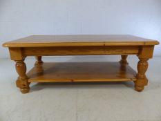 Pine coffee table on bun feet