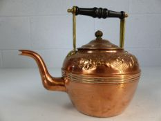 Copper and brass tea pot with floral design