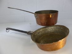 Two copper cooking pans