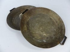 Pair of matching shallow flat copper pans