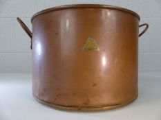 Large twin handled copper pot with brass label for Joseph Long Ltd London. Diameter approx. 32cm