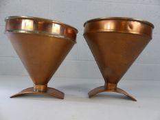 Pair of copper funnels