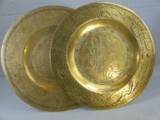 Pair of heavy brass plated with incised decoration
