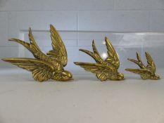 Three graduating wall mounted brass swallows