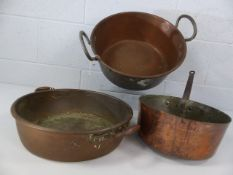 Collection of three large copper pans. Total weight approx 4.2kg