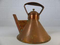 Copper flat bottomed teapot