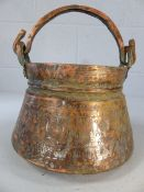Antique copper cooking pan with incised decoration