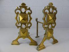 Pair of brass firedogs approx. 33cm tall