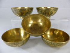 Set of five Chinese bowls depicting dragons chasing a flaming pearl