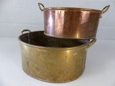 Brass planter and a copper planter, the larger approx. 30cm across
