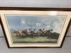 MICHAEL LYNE Artist Signed Print. Untitled, framed and mounted print depicting horses and riders