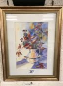 Beatrice Williams signed watercolour of still life autumn arrangement in pitcher and bowl