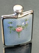 Silver and enamel perfume flask c1940, marked Sterling to base (possibly by Gorham) of square form