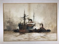 """Charles Edward Dixon (1872-1934) Watercolour drawing of ships on the Thames signed lower right """""""