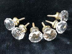 Six faceted Cut glass matching Knobs