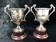 Pair of matching Silver hallmarked trophies approx 207g Birmingham by Alexander Clark & Co Ltd