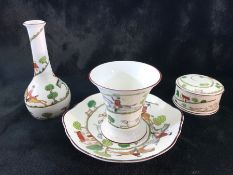 A quantity of 'Hunting scene' china all of the same design by Coalport (plate, lidded pot & small