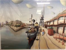 Framed & glazed Limited Edition print of Princes Wharf by R W Forster, no. 103/600