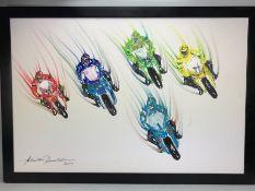 Armando Rinaldi Artist: Large oil on canvas of racing motorbikes (approx 60cm x 90cm)