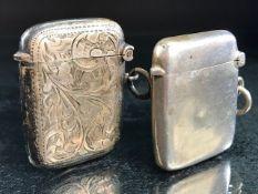 Two Hallmarked Silver Vesta cases makers SB&SL Chester 1909 & Birmingham 1908 maker WHH