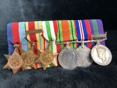 WWII medals: set of six to include 1939-45 star, Africa Star with 8th Army Bar, Italy Star,