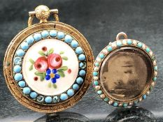 TwoTurquoise and Seed Pearl Memorial Pendants: (One) Yellow metal approx: 22.85mm in diameter, set