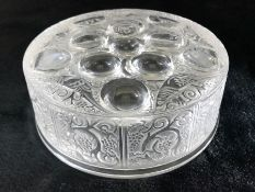Rene Lalique France - A Roger Glass powder box and cover, circular decorated with frosted scrolls