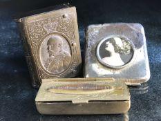 Interesting selection of vesta cases including a bakelite book form vesta depicting Edward VII