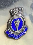 Hallmarked silver match book Birmingham 1937 bearing the insignia for HMS RENOWN with blue enamel