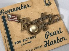 """Militaria: WWII """"Remember Pearl Harbor"""" pin on original card """"24k GOLD FINISH"""" with American Flag."""